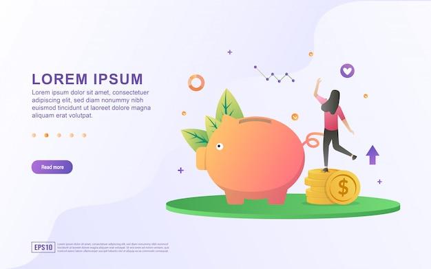 Ilustración de ahorrar dinero e invertir con iconos de hucha y monedas