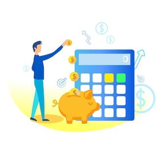 Ilustración de ahorro en la hucha plana.
