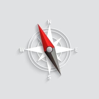 Ilustración aislada 3d del vector de la flecha del compás. icono de navegación y dirección