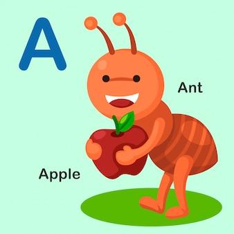 Ilustración aislada del alfabeto animal letra a-ant, apple