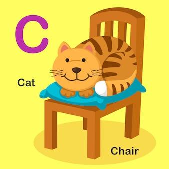 Ilustración aislada del alfabeto animal letra c-cat, silla
