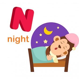 Ilustración aislada alfabeto letra n noche