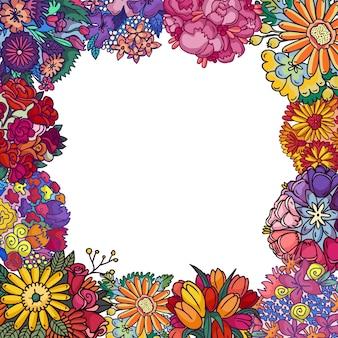 Ilustración aislada de flores. marco de decoración floral, borde. tarjeta de felicitación de plantas con flores cumpleaños, san valentín, día de la madre, boda.
