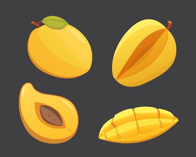 Ilustración aislada de la fruta amarilla del mango. mangos frescos maduros