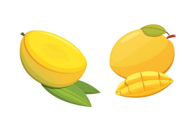 Ilustración aislada de fruta amarilla de mango