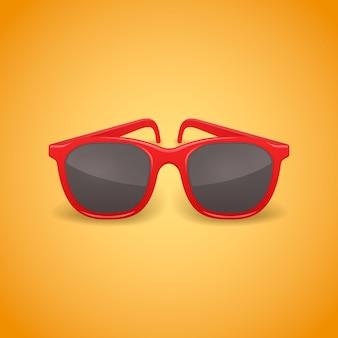 Ilustración aislada de gafas de sol realistas rojas.