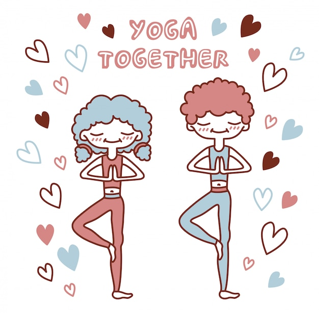 Ilustración aislada con gente linda en una pose de árbol rodeada de corazones. pareja amorosa haciendo yoga. letras de yoga juntos.