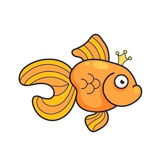 Ilustración aislada en la ilustración de la silueta de los pescados del acuario del goldfish. dibujos animados de colores