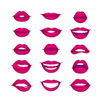 Ilustración aislada de labios femeninos.