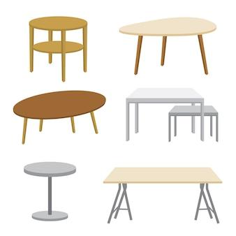 Ilustración aislada de la mesa de madera de los muebles