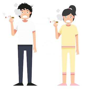 Ilustración aislada mujer y hombre fumando un cigarrillo