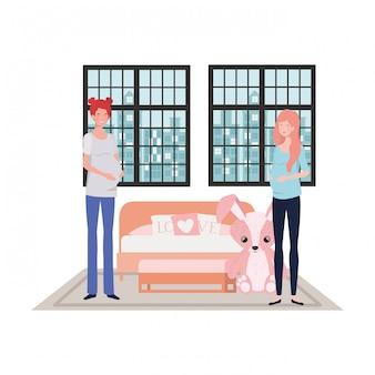 Ilustración aislada de las mujeres embarazadas