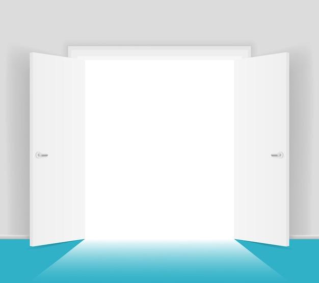 Ilustración aislada de puertas abiertas blancas. luz brillante desde la entrada. abrirse a la libertad