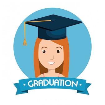 Ilustración aislada de la tarjeta de graduación