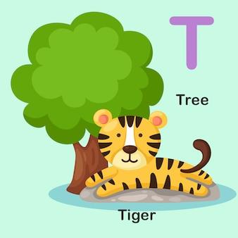 Ilustración aislado alfabeto animal letra t-tree, tigre