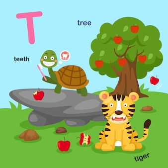 Ilustración aislado alfabeto letra t