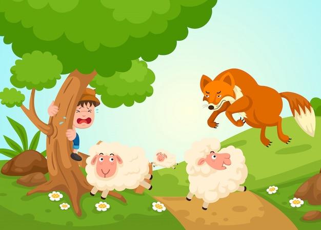 Ilustración de aislado el vector de cuento de hadas de niño pastor