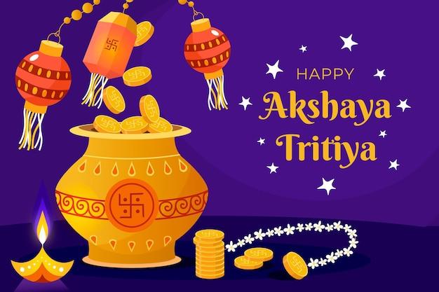 Ilustración de akshaya tritiya de diseño plano
