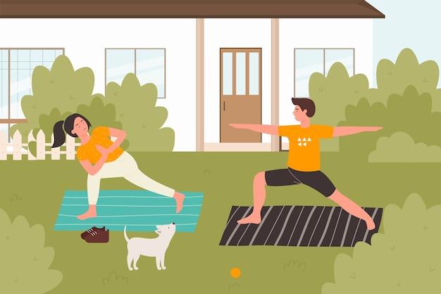 Ilustración al aire libre de práctica de yoga de verano. familia joven feliz, amigos o personajes de pareja practicando asana yoga plantean en el patio trasero, actividad saludable de verano en el fondo de la naturaleza