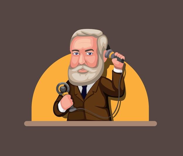 Ilustración de alexander graham bell, inventor del concepto de tecnología de comunicación telefónica en la ilustración de dibujos animados