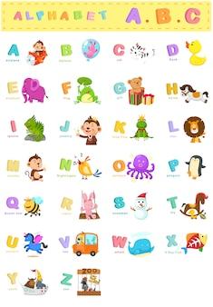 Ilustración del alfabeto animal letra az