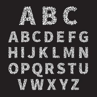 Ilustración de alfabeto de fuente cruzada blanca simple sobre fondo gris.