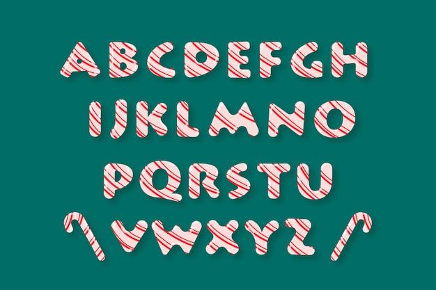 Ilustración de alfabeto de navidad de bastón de caramelo