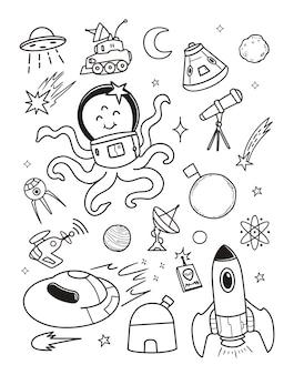 Ilustración alien doodle