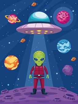 Ilustración de alien y ovni