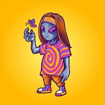 Ilustración alienígena feliz hippie