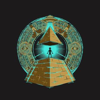Ilustración alienígena de la pirámide