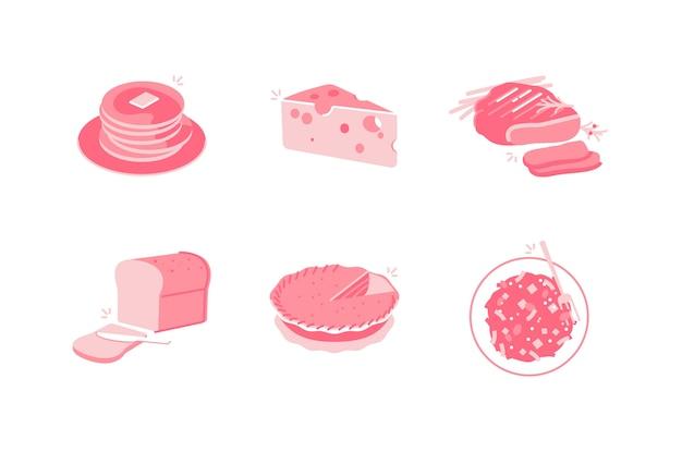 Ilustración de alimentos y bebidas