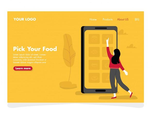 Ilustración de alimentos en línea para la página de destino