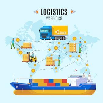 Ilustración de almacén logístico