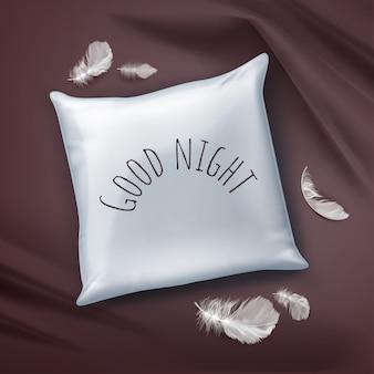 Ilustración almohada cuadrada blanca con texto y plumas en la sábana de color burdeos