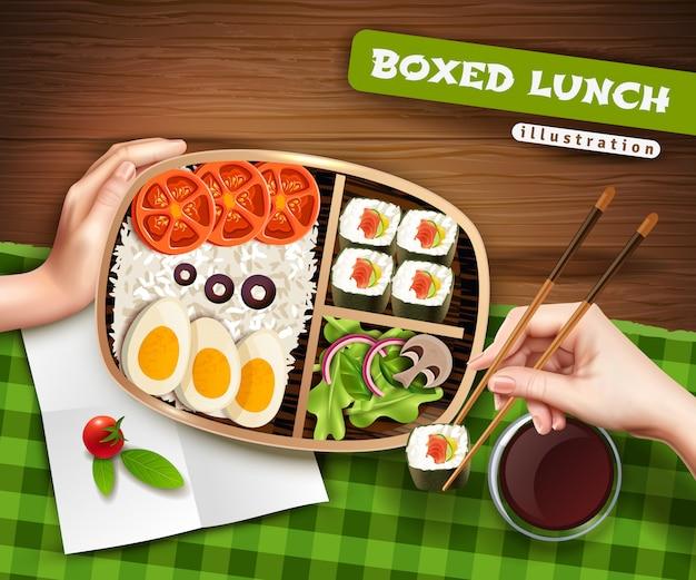 Ilustración de almuerzo en caja