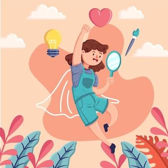 Ilustración de alta autoestima con espejo y mujer.