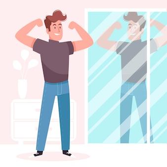 Ilustración de alta autoestima con hombre y espejo.