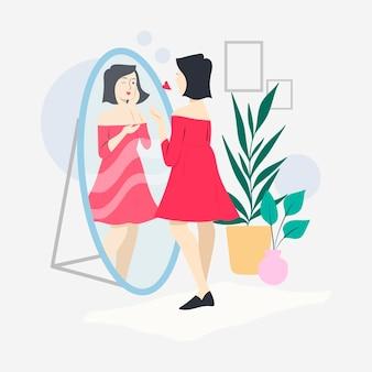 Ilustración de alta autoestima con mujer y espejo.