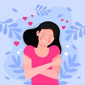 Ilustración de alta autoestima con mujer y hojas.