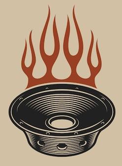 Ilustración de altavoces de audio con fuego sobre un fondo blanco.