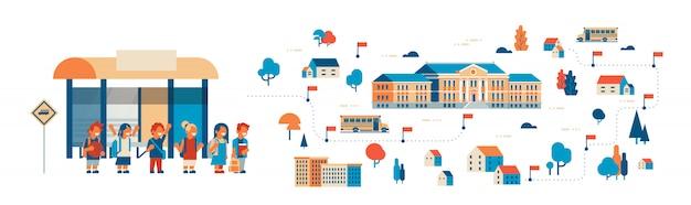 Ilustración de alumnos que van a la escuela, edificio isométrico, estación de autobuses