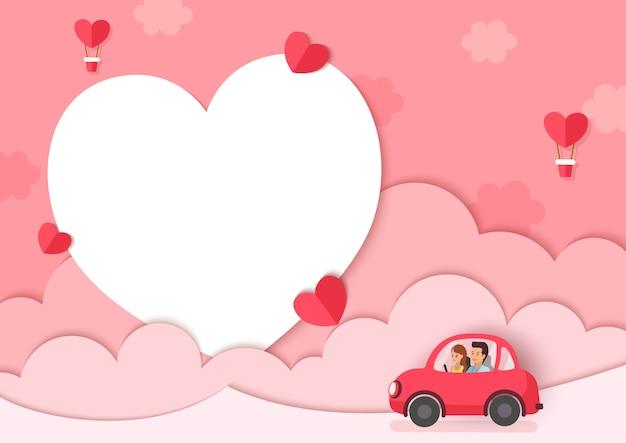 Ilustración de amante en coche con fondo rosa y marco de corazón