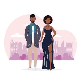 Ilustración de amantes de pareja joven afro