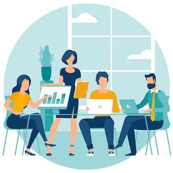 Ilustración de ambiente de trabajo compartido.