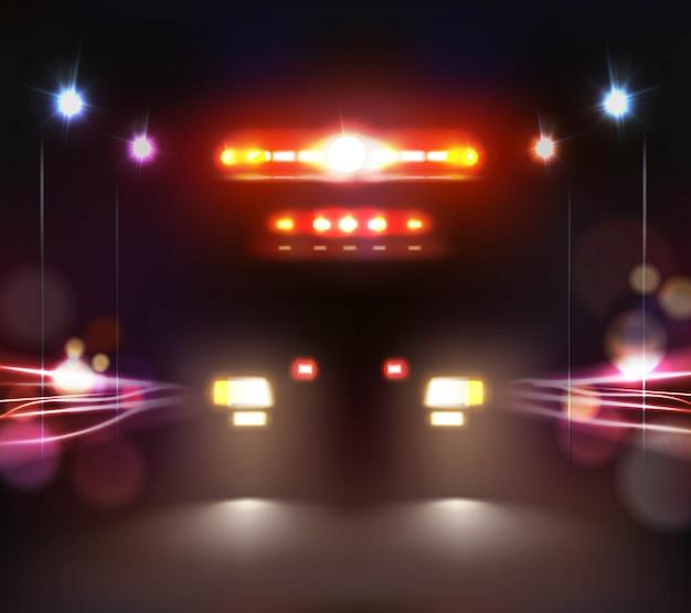 Ilustración de ambulancia en la noche