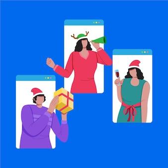 Ilustración de amigos celebrando la navidad en línea debido a una pandemia
