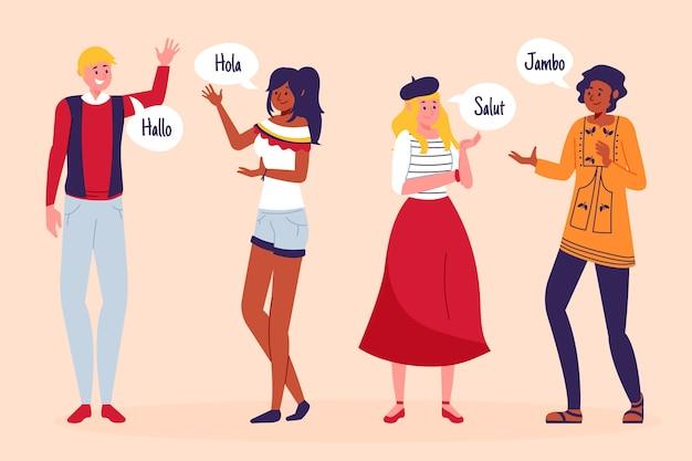 Ilustración de amigos hablando diferentes idiomas