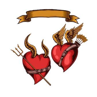 Ilustración de amor de ángel contra demonio