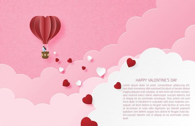 Ilustración de amor banner de san valentín con pareja en globo de aire caliente y forma de corazón en papel cortado estilo.